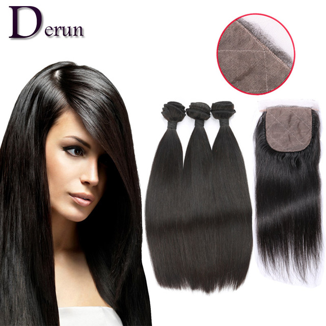 7a Cheap Brazilian Virgin Hair Straight With Closure  Human Hair Weave 3 Bundles Brazilian Straight Hair With Silk Base Closure
