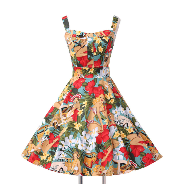 Women Rockabilly Dresses 2017 Retro Vintage 50s 60s Audrey Hepburn Party Plus Size Clothing Vestidos Summer Floral Casual Dress