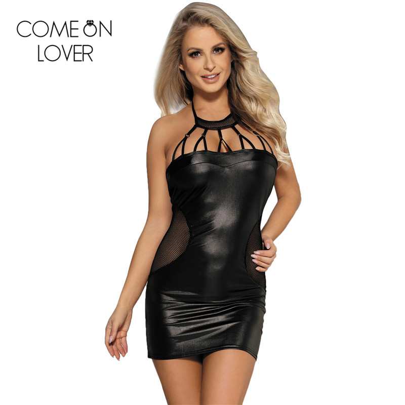 Women's Clothing Nice 2019 New Women Short Pencil Dress Soft Pu Faux Leather Sexy Halter Strappy Slim Retro Black Mesh Patchwork Mini Vestido De Festa