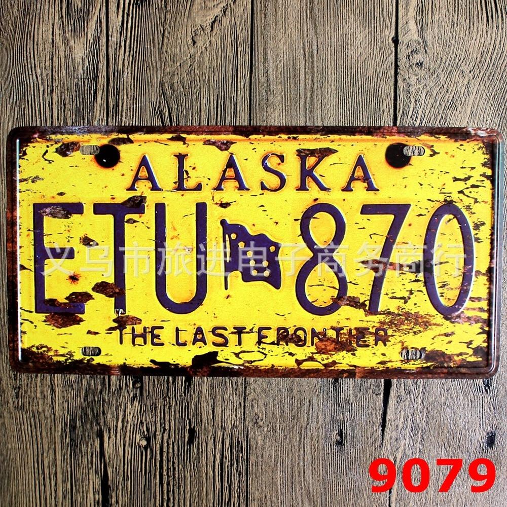 LOSICOE Vintage license plate ETU 870 Metal signs home decor Office Restaurant Bar Metal Painting art 15x30 CM