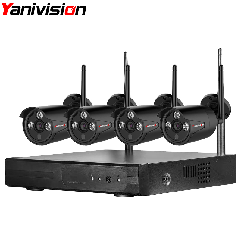 Yanivision CCTV Security Camera System Wireless NVR Kit 720P 4CH Home WIFI Video Surveillance Outdoor IP Camera Set Waterproof image