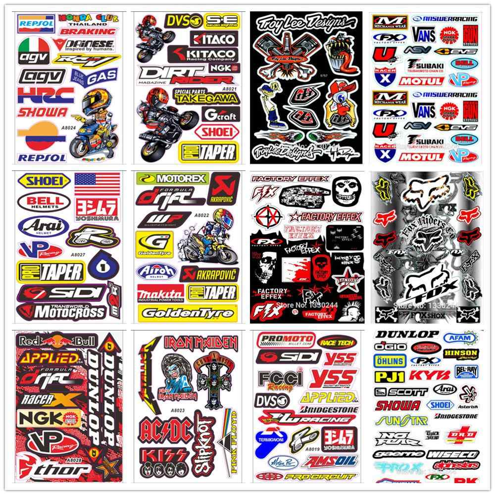 A4 حجم الثعلب جمجمة رأس لامع فيلم ملصقات ل دراجة نارية سيارة وحدة سكوتر مضحك الشارات للماء PVC مجموعة كاملة ملصقات