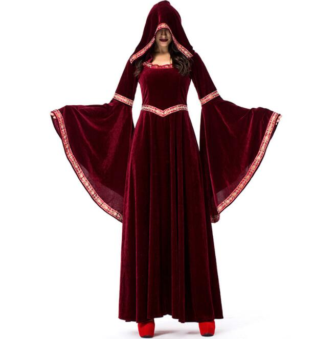 Halloween Cosplay Costumes Scary Vampire Witch Costume for Women Medieval Victorian Masquerade Costume Fancy Maxi Dress