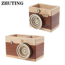 Creative Camera Pattern Wooden Pen Pencil Case Holder Stand Desktop Sundries Storage Box Multi Purpose Use Wooden Pen Holder