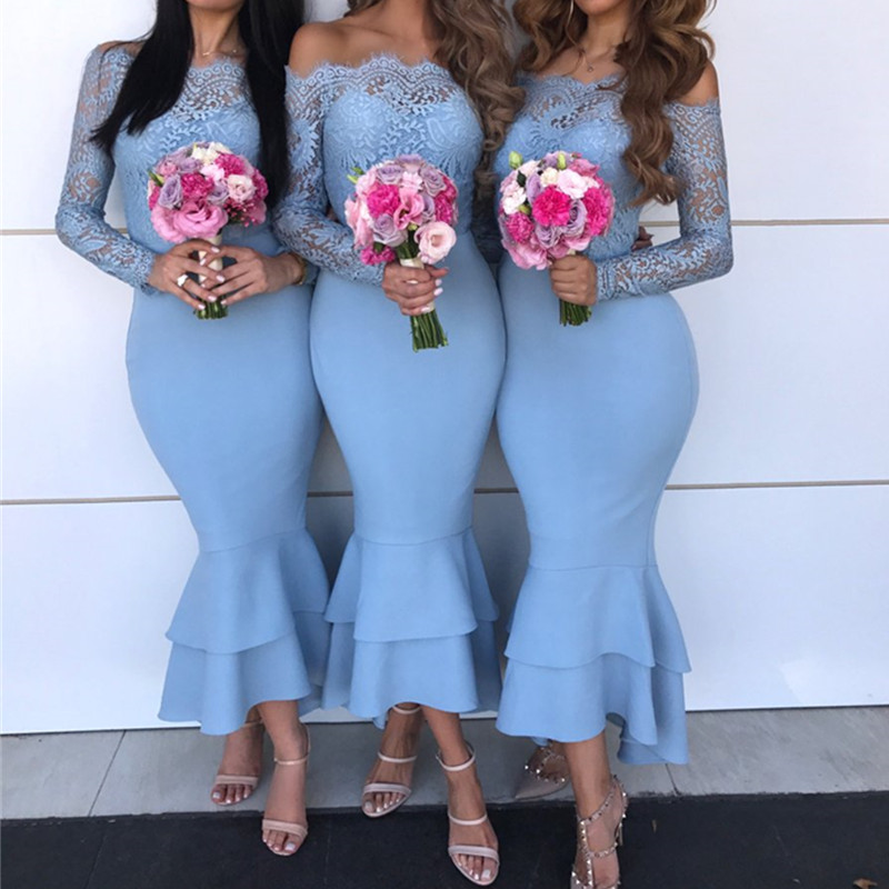 Sexy Boat Neck Lace Mermaid Wedding   Bridesmaid     Dress   Elegant Off the Shoulder Long Sleeve Ruffles   Dress   for Wedding Party