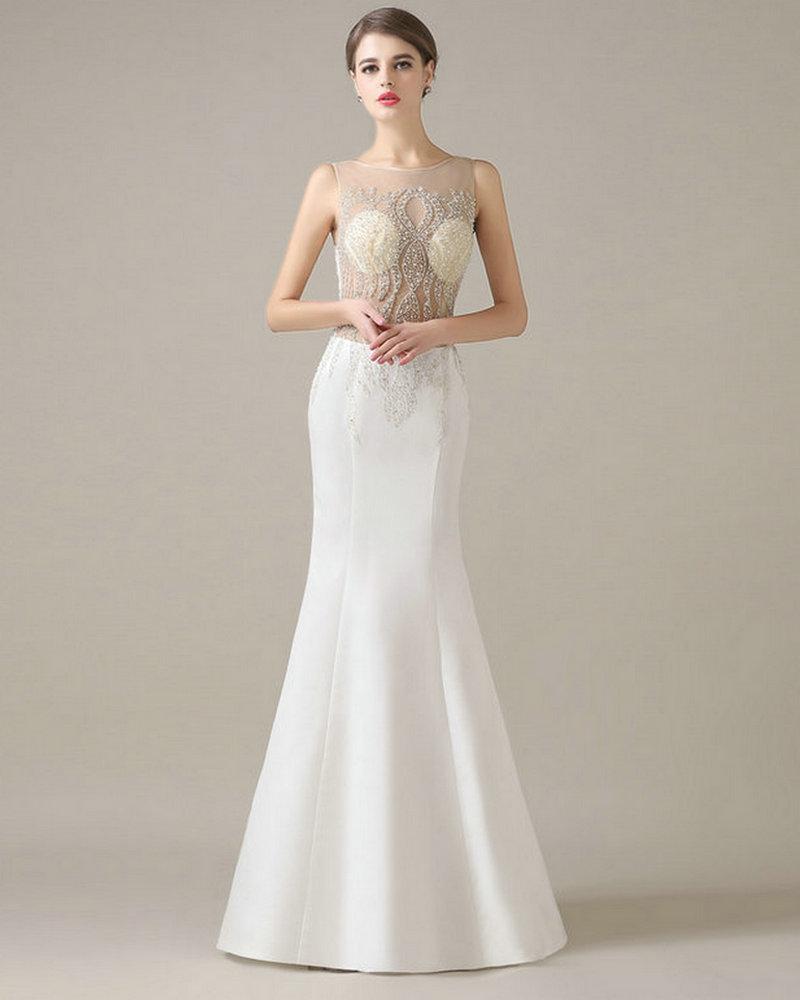 Satin Mermaid Wedding Gown: REAL MODEL Elegant Wedding Gowns Crystals 2017 Ivory Satin
