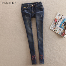 NEW fashion brand Embroidered women skinny pencil jeans denim elastic pants washing color good quality woman casual jean pants