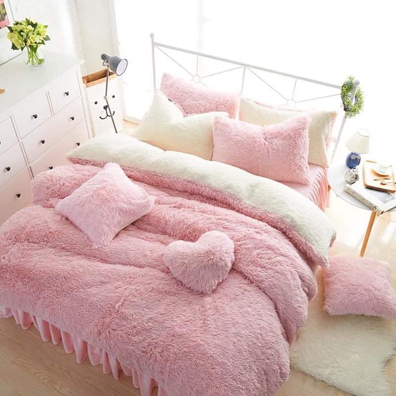Blanc rose polaire ensemble de literie roi reine Twin taille filles ensemble de lit chaud doux drap de lit housse de couette ensemble jupe de lit parure de lit - 4