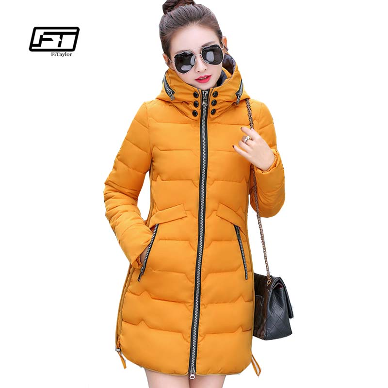 Fitaylor Winter Thick Parka Women Plus Size Hooded Warm Slim Coat Long Jacket Simple Outwear Ladies Cotton Coat Casual Parkas women s winter coat new parkas female thick padded cotton long outwear plus size parka casual jacket coat women c1251