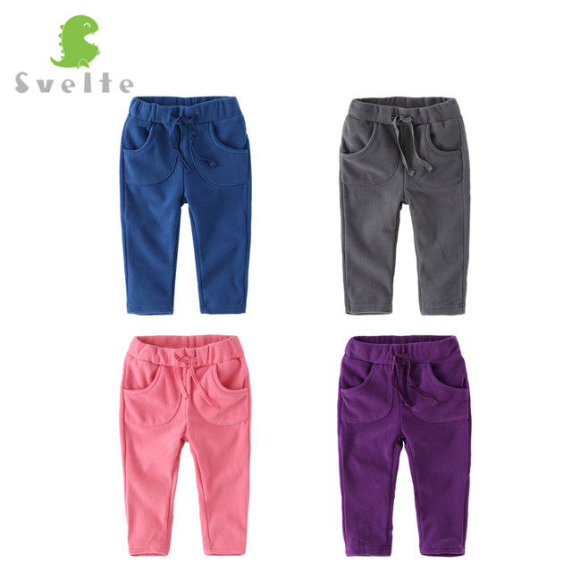 SVELTE Brand Kids Boys Girls Casual Pants Trousers  for Spring Autumn Unisex Polar Fleece Pants Children Sport trousers For 1-4Y