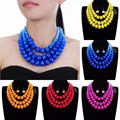 Fashion Jewelry 3 layers Resin  Chain Cluster Choker Statement Pendant Bib Necklace