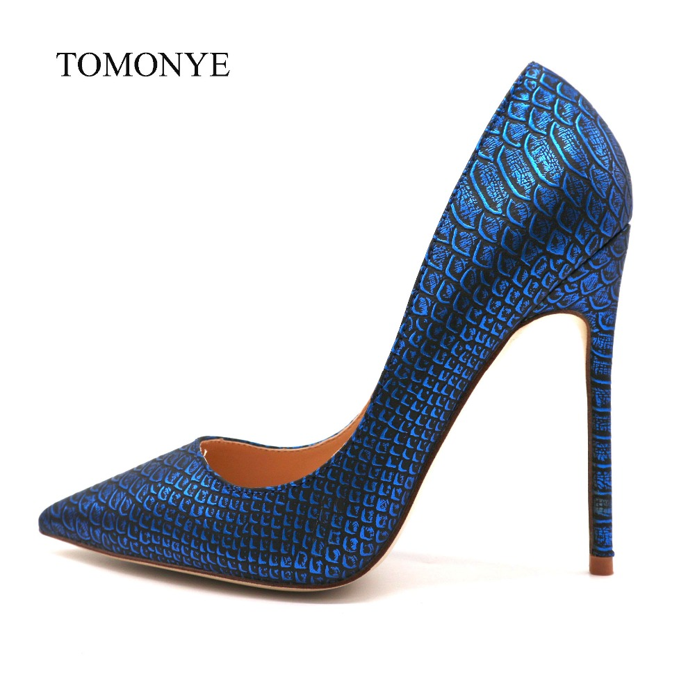2019 new designer royal blue snake python pointed toe evening sexy high heel shoes 12cm plus