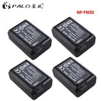 PALO 4pcs Lot 2000mAh NP FW50 NP FW50 Camera Battery For Sony Alpha A6500 A6300 A6000