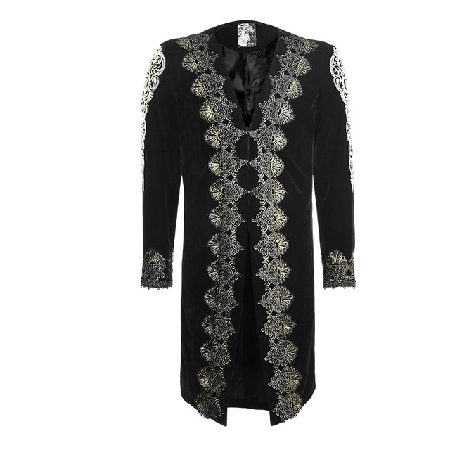 729d0f207d7b Punk Rave Steampunk Mens Gothic Black Velvet With Gold Embroidery Jacket  Coat Y641 S-XXXL