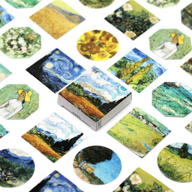 45 unids/pack Kawaii lindo Van Gogh pintura al óleo patrón decoración diario pegatinas Scrapbooking papelería estudiante Oficina Supplie