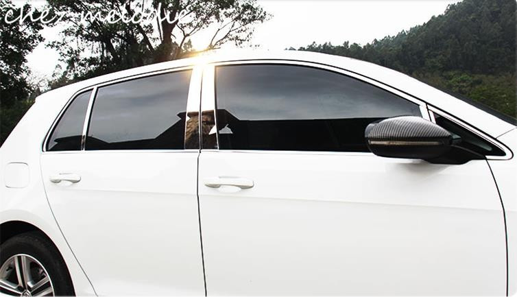 10pcs/16pcs mirror chromed stainless steel car outside window trims strips styling for Volkswagen Golf 7 MK7 2014-2016 world outside the window paper