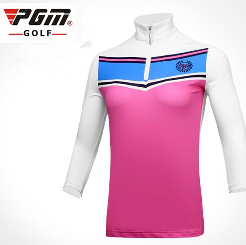 PGM autumn and winter new women Slim Golf Sportswear lady ice silk three quarter sleeve breathable Quick Dry Golf sports T shirt