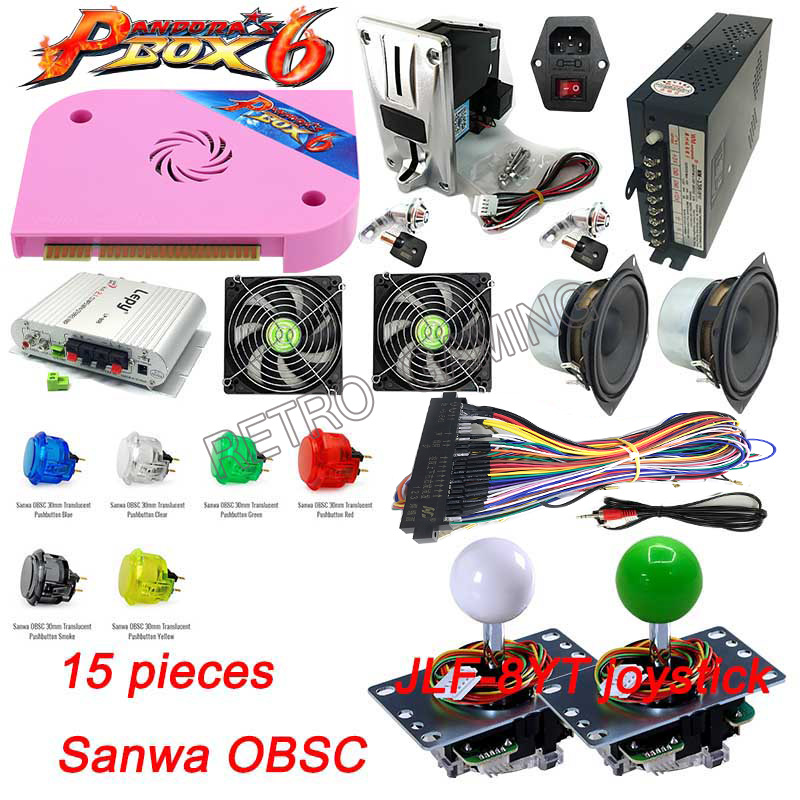 Original Pandora's box 6 Sanwa diy kit 1300 in 1 Jamma <font><b>3D</b></font> <font><b>PCB</b></font> Board support CGA/VGA/HDMI for Arcade Video game cabinet machine image