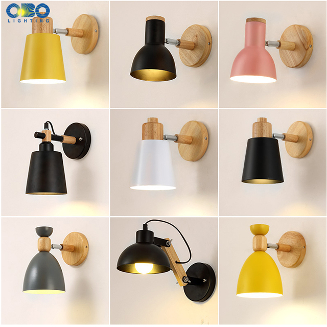 Nordic Modern Wall Lamps Iron Bedside Lamp E27 Bulb LED Creative Macaron Wood background  wall light Indoor Lighting