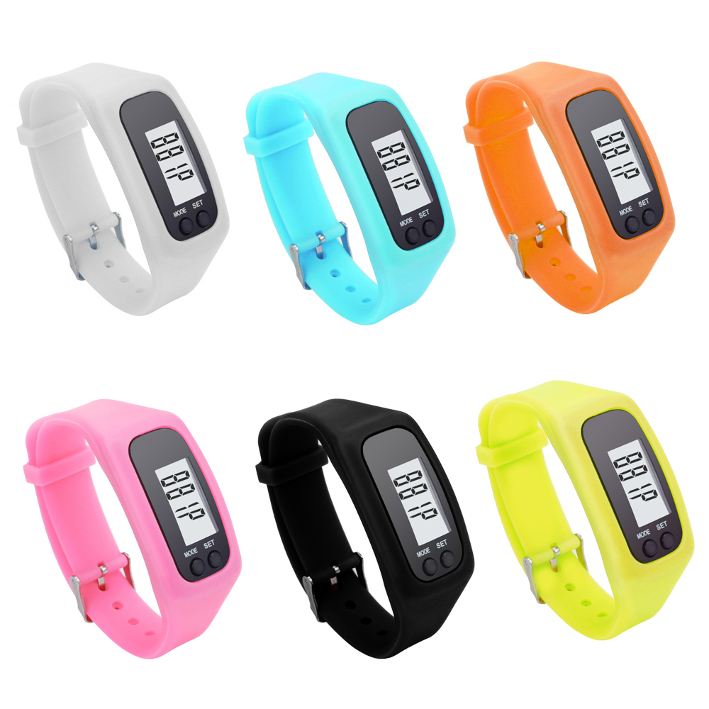 6 Colors Digital LCD Pedometers Sports Electronic Hand Bracelet Watch Strap Pedometer Sport Run Step Calorie Counter P15