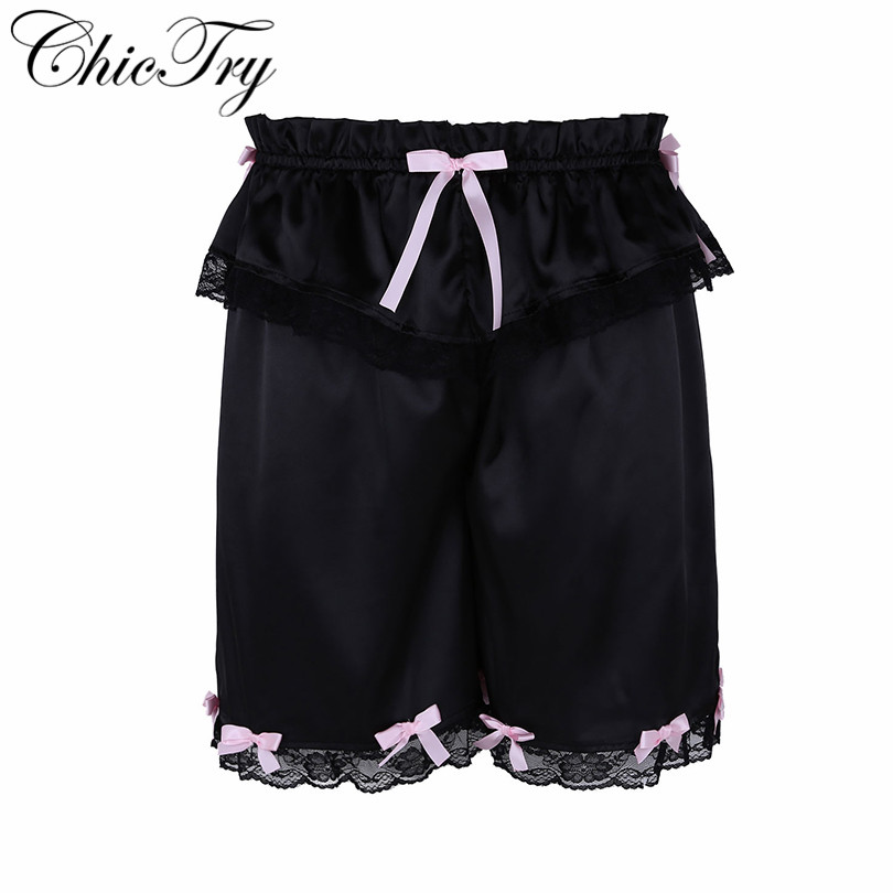 Sexy Male Men Crossdress Sissy Lingerie Panties Classic Frilly Lace Bowknot Shorts Bloomers Lightweight Loose Lounge Short Pants