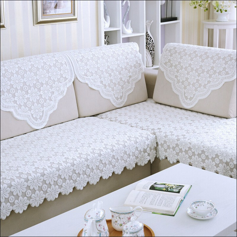 Cover White Knit Sofa Set Four Seasons