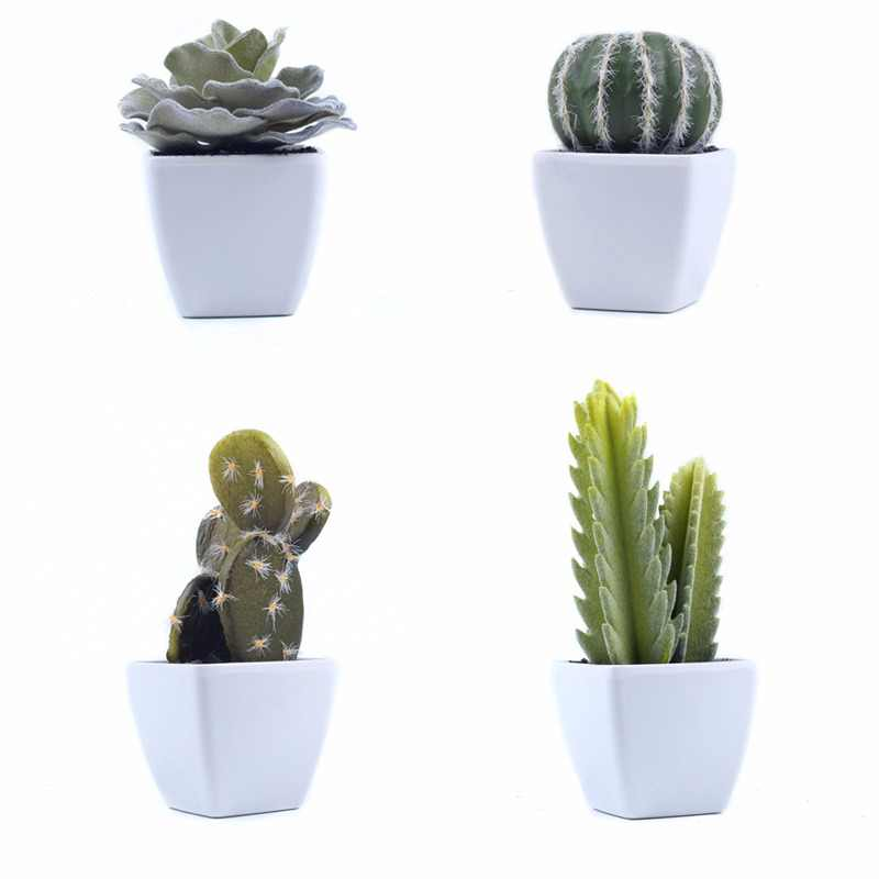 1Set Mini Potted Succulents Cactus Bonsai Artificial Flower Fake Floral for Wedding Home Party Decorative 4 colours B3105