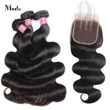 Meetu Body Wave Bundles With Closure Indian Human Hair Bundles With Closure 4X4 Inch 3 Bundles With Closure Free Part Non Remy