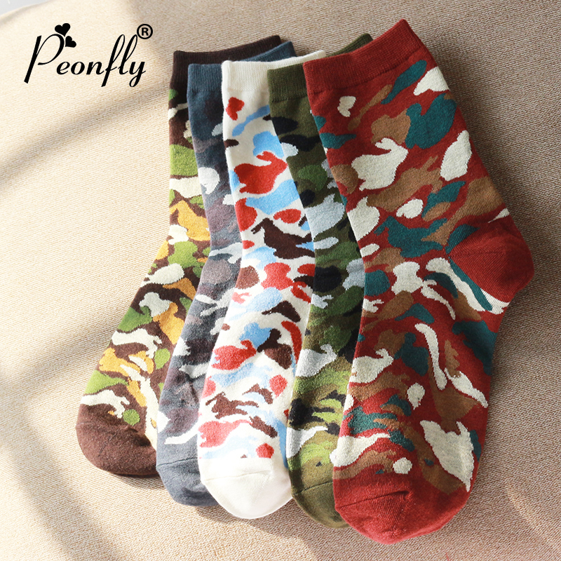 PEONFLY 5  Pair Camouflage Men Socks for Loafer Men Cotton  Socks Mens Breathable Colorful Socks Free Size