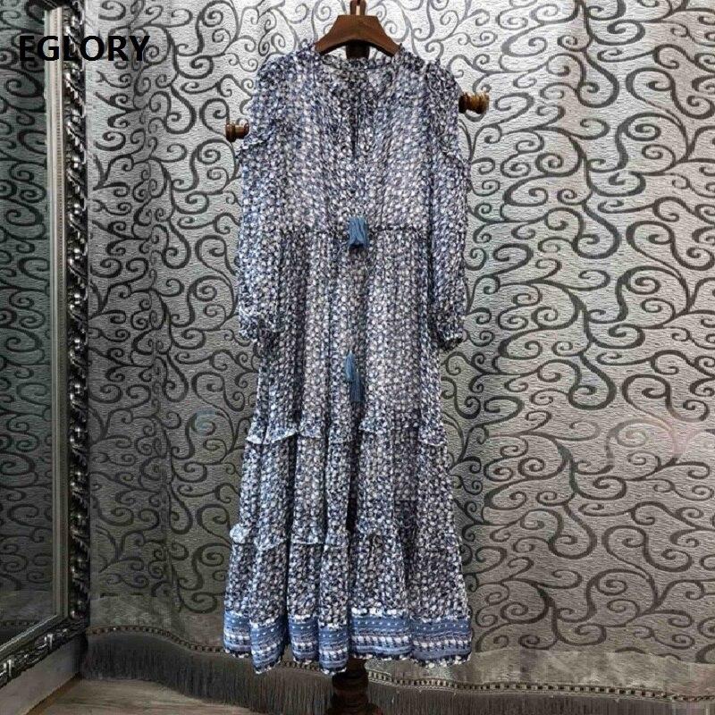 Nouvelle mode robe d'été de haute qualité femmes Chic imprimé à volants Patchwork à manches longues tenue décontractée femmes Vestidos 2020 Boho