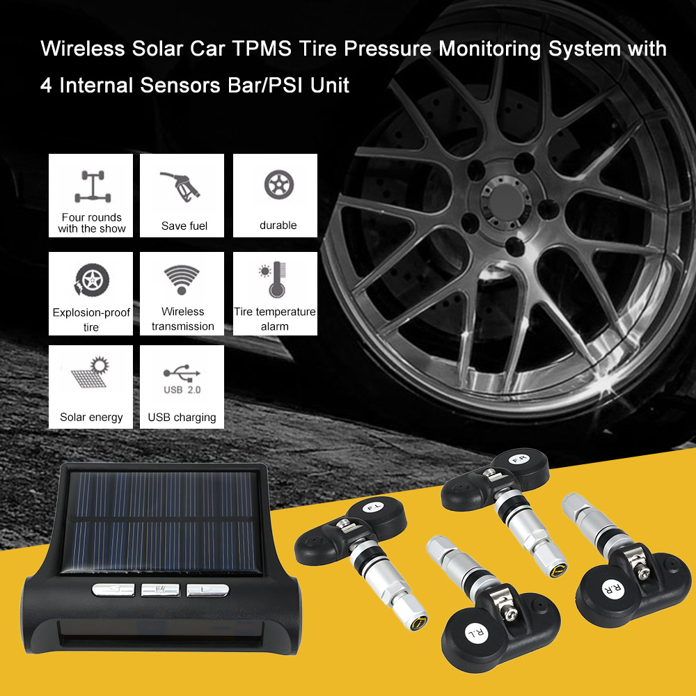 Wireless Solar Car font b TPMS b font Tire Pressure Monitoring System with 4 Internal Sensors