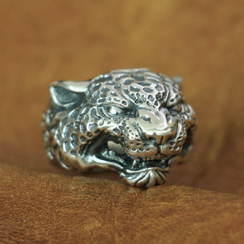 LINSION 925 Sterling Silver Details Leopard Panther Ring Mens Biker Ring TA151 US Size 7 15