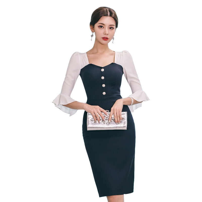 9ed50a82d20c4 Plus Size Patchwork Pencil Summer Dress 2019 Women Black Full Flare Sleeve  Square Collar Elegant Office Dress Work Lady Dresses