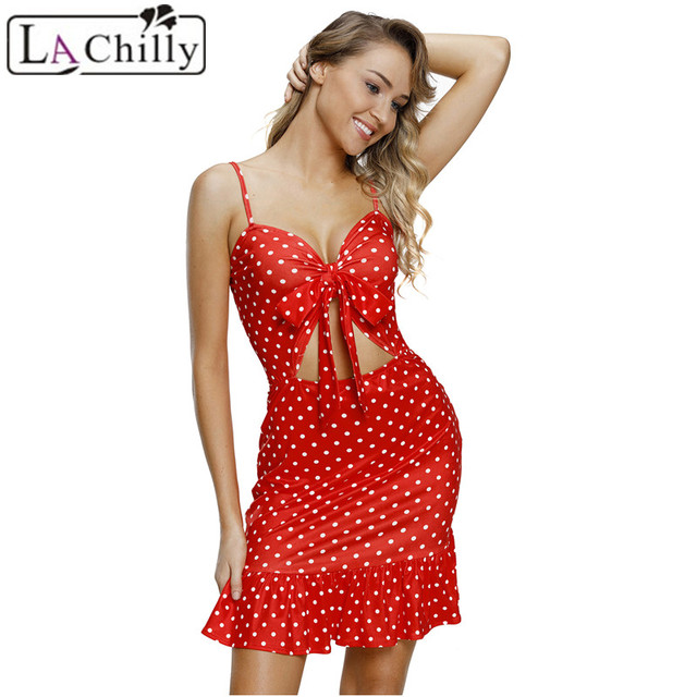 a13cba6158cb La Chilly Sundress 2018 Summer Womens Dresses Red White Polka Dot Print Cut  Out Frill Hem Shoulder Strap Mini Dress LC220352