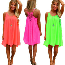 Summer Dresses Women Short Mini Dress Plus Size Causal Spaghetti Strap Hollow out Chiffon Beach Dress Vestidos Mujer S~5XL