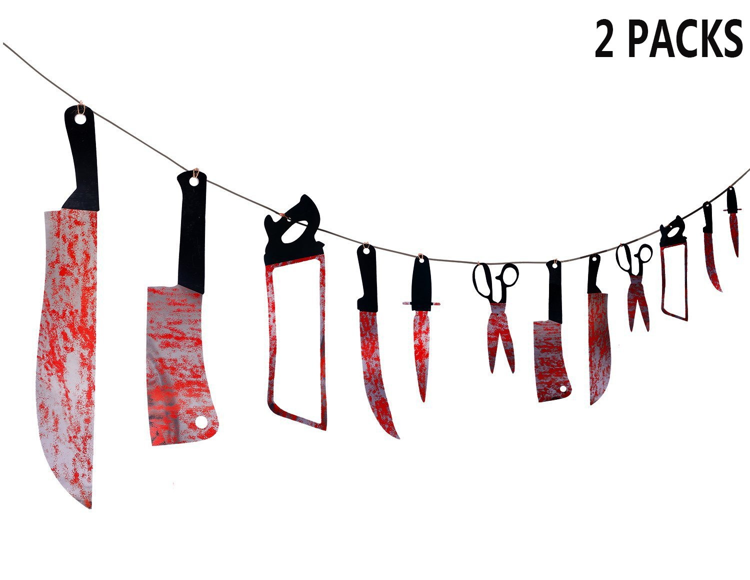 METABLE 24PCS Bloody Weapons Garland Props Halloween Zombie Vampire Party Decorations Supplies in Flags Banners Accessories from Home Garden