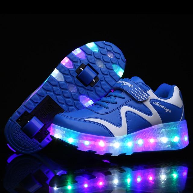 100% authentic 81d34 55711 Kinder LED Licht Schuhe Leuchtende Turnschuhe Mit Rädern Junge Mädchen  Rollschuh Casual Erwachsene Zapatillas Zapatos Con Rueda