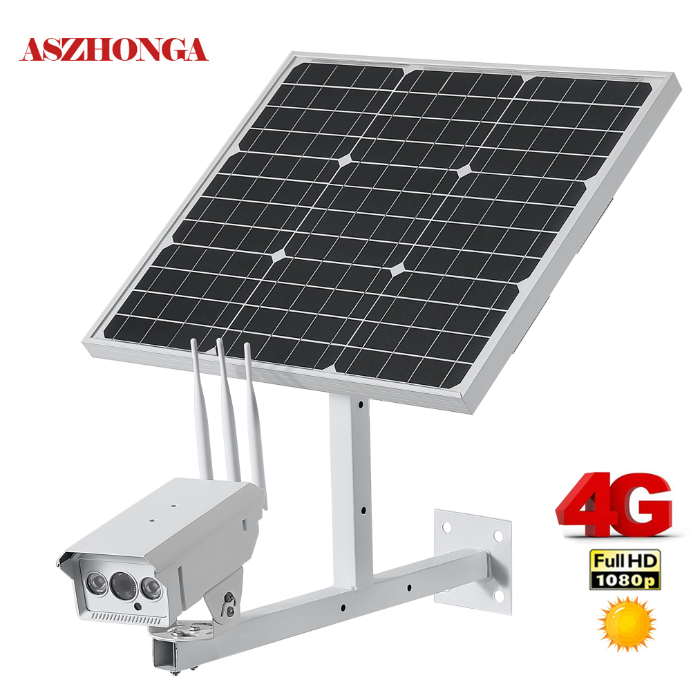 30W Solar Panel CCTV Wi fi IP Camera 1080P HD 3G 4G SIM Card Outdoor Waterproof