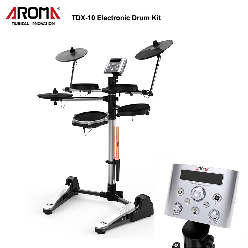 AROMA TDX-10 Electronic Drums Kit 12 Drum Kits Sounds Metronome Inside Easy And Recording & Replay For Training/Teaching