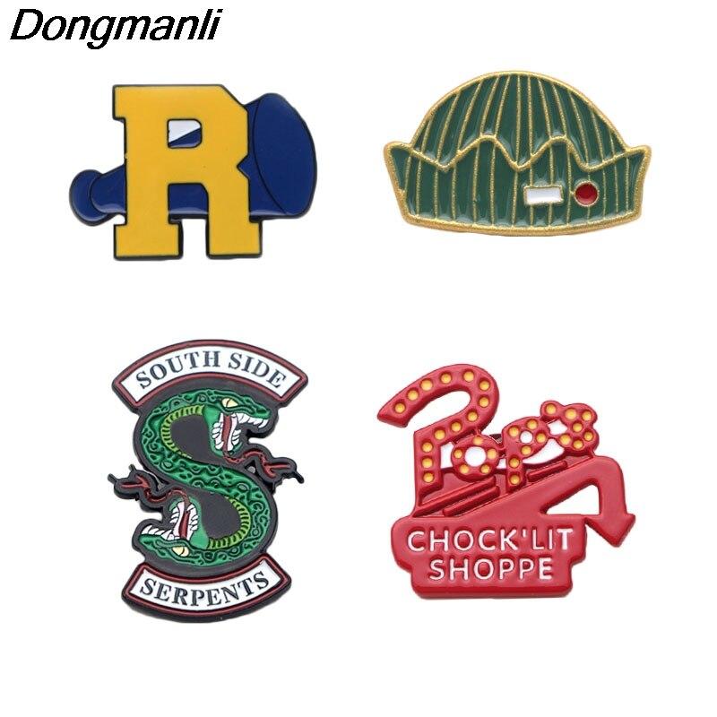 P2476 Dongmanli 20pcs lot wholesale Riverdale Enamel Pin Buckle Shirt Pins and Brooches