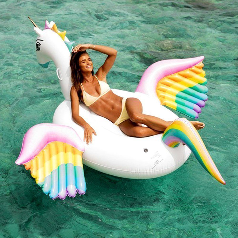250cm Giant Pegasus Inflatable Pool Float Rainbow Unicorn Ride-on Water Party Toys Adult Beach Swimming Ring Air Mattress boia