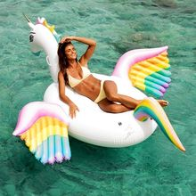 250cm Giant Pegasus Inflatable Pool Float Rainbow Unicorn Ride-on Water Party Toys Adult Beach Swimming Ring Air Mattress boia 150cm giant alpaca inflatable pool float unicorn ride on air mattress swimming ring adult children water party toys boia piscina