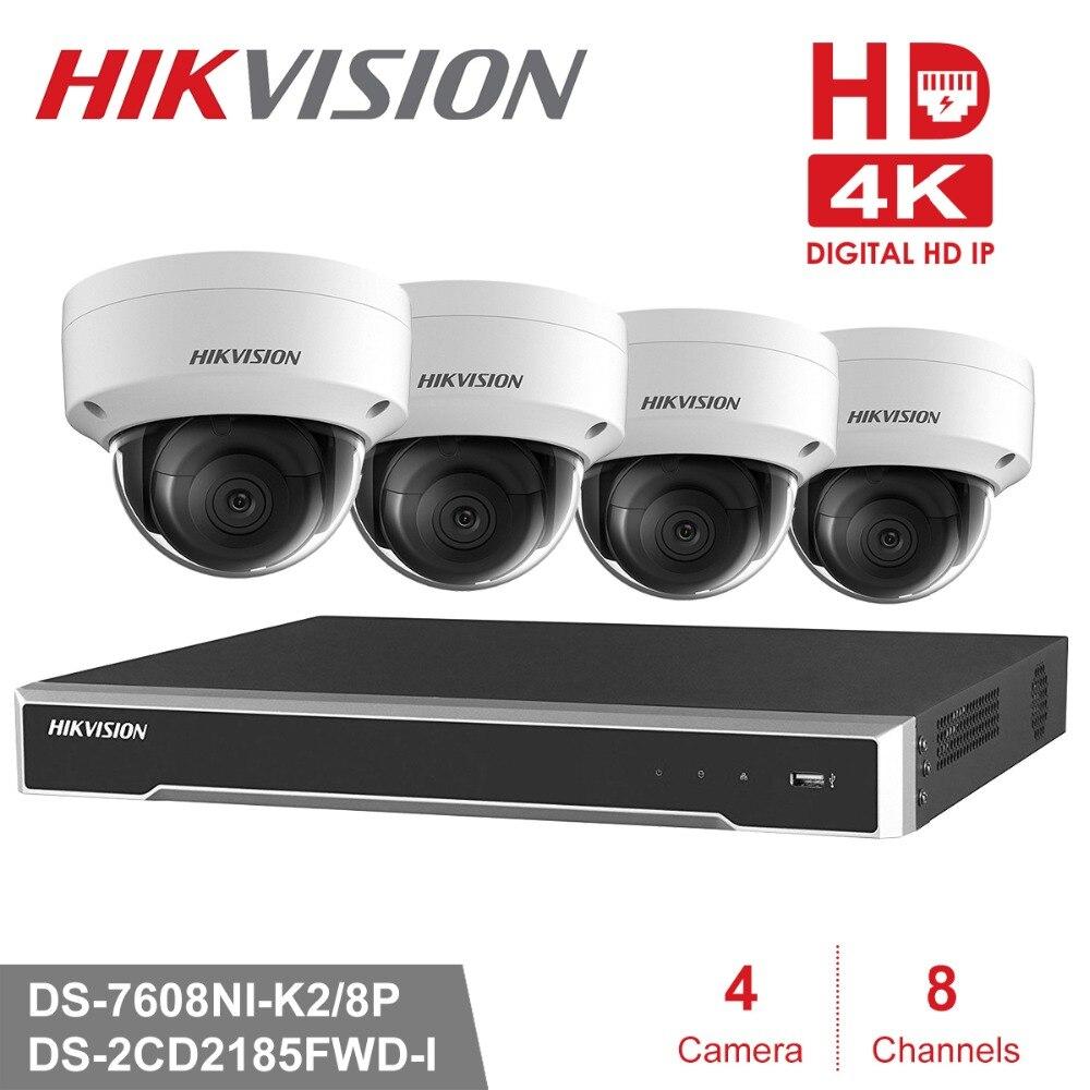 Hikvision 8ch Cámara sistema de seguridad POE 8MP 4 unids cámara IP al aire libre sistema de vigilancia NVR POE Kit de 8MP impermeable P2P apoyo