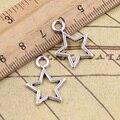 Encantos estrela pentagrama 50 pcs 16*22mm Tibetano Banhado A Prata Pingentes Antique Jewelry Making DIY Handmade Artesanato