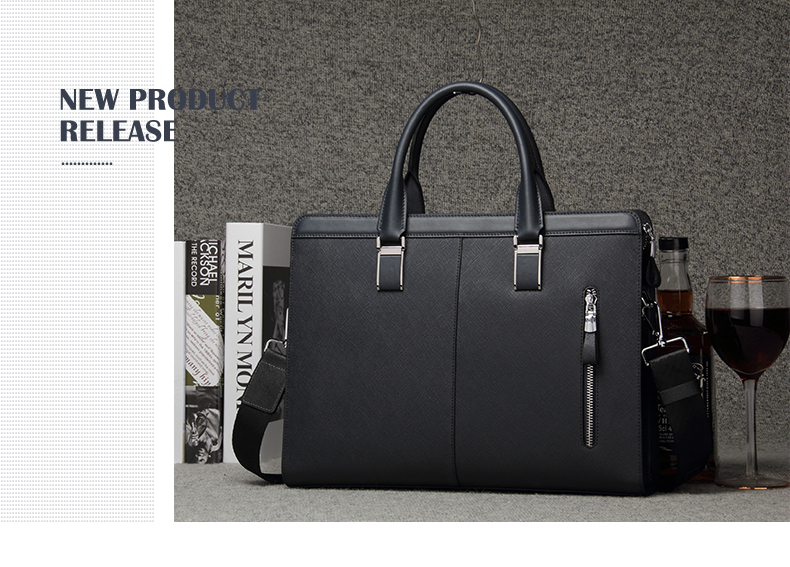 HTB1hiJVd8smBKNjSZFFq6AT9VXaT BISON DENIM Genuine Leather Handbag Men Business Messenger Bag 14'' Laptop Tablet leather Shoulder Bag Crossbody Male bags N2317