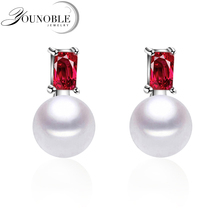 100% genuine freshwater pearl earrings for women,925 sterling silver girls jewelry gift box white