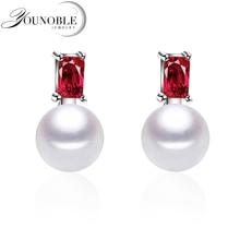 100% genuine freshwater pearl earrings for women,925 sterling silver girls jewelry gift box white