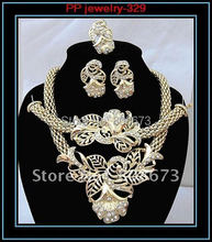 High Quality Free Shipping!!Sparkle Crystal Big  Flower Gold Color Jewelry Sets!Bridesmaid Elegant Gold Jewelry For Wedding