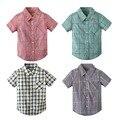 Новый бренд хлопок блузка рубашка мода дети детские 2 Т-7 Т школы ребенок мальчиков рубашки топ мальчик с коротким рукавом плед рубашки Китай сделано