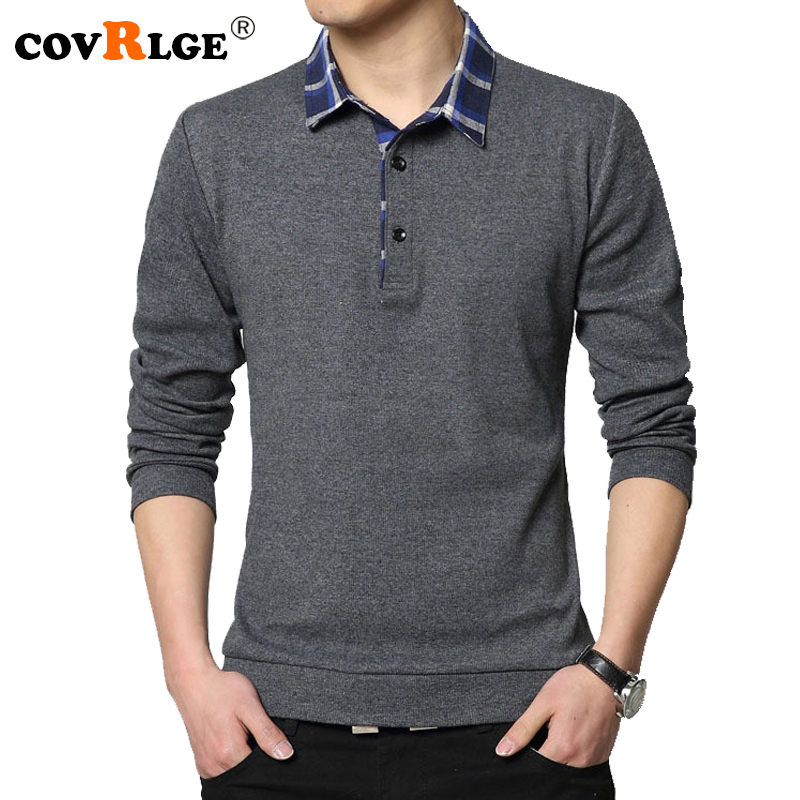 Covrlge   Polo   Shirt 2019 Spring New Men's Tee Shirts Fashion Patchwork Plus Size 4XL 5XL Long Sleeve   Polo   Shirt Slim Fit MTP041